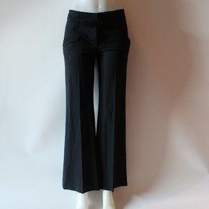 THEORY BLACK FLAT FRONT BELTED TROUSER PANTS SZ 4*